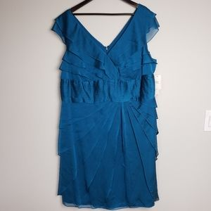 NWT Silky Blue short Sleeve Sheath Dress size 22